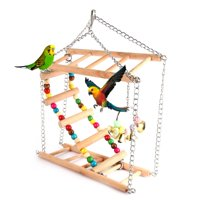 Yosoo Pet Hanging Ladder Bridge Steps Stairs Climbing Swing Double-Layer Wood Hamster Parrot Cage Toy, Pet Toy, Hanging Ladder