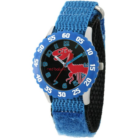 Dinosaur Skeleton Boys' Stainless Steel Time Teacher Watch, Blue Bezel, Blue Hook and Loop Nylon Strap with Black Backing