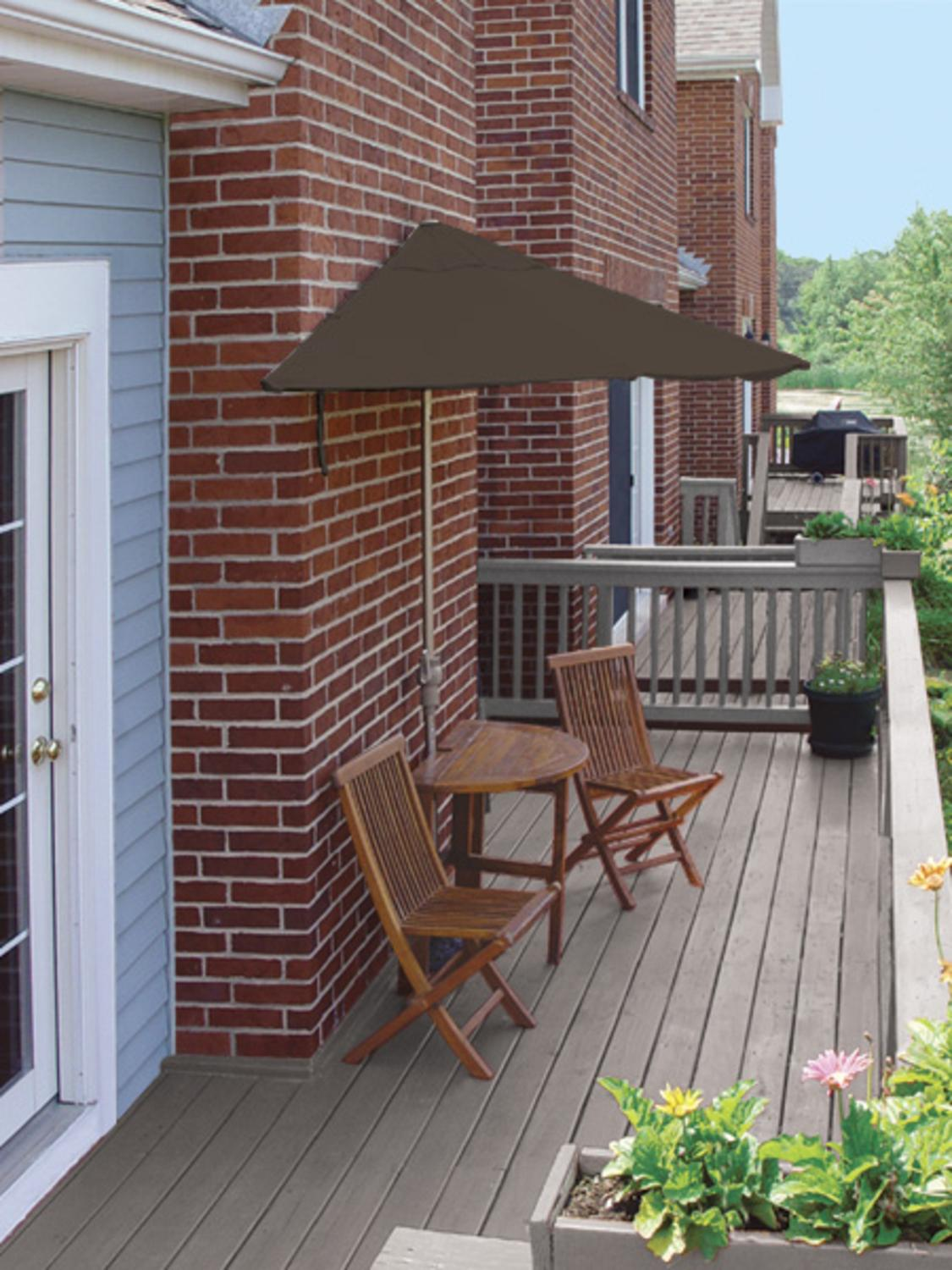 5 Piece Oval Deluxe Nyatoh Wood and Brown Sunbrella Patio Furniture Set 7.5' by CC Home Furnishings