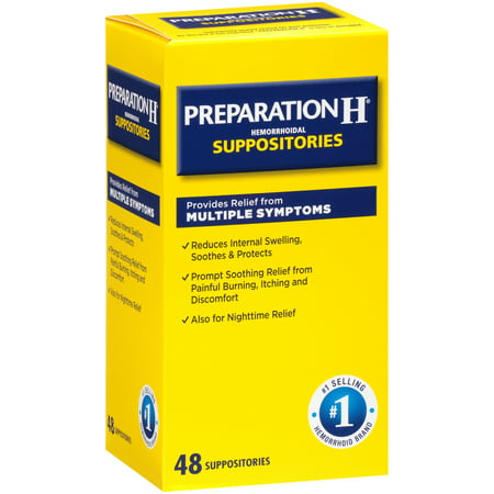 Glycerin Suppositories Laxative Adult (Preparation H Hemorrhoid Symptom Treatment Suppositories (48 Count), Burning, Itching and Discomfort Relief)