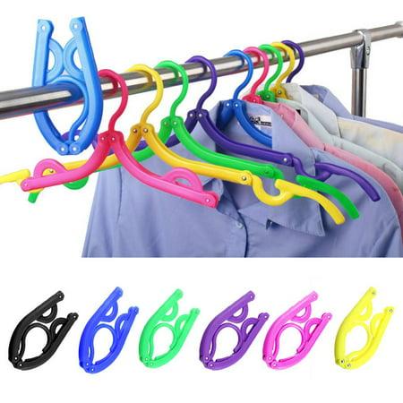 Portable Folding Plastic Clothing Coat Hanger Multifunctional Travel Foldable Hanger Children Clothes Drying Rack