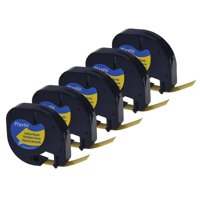 GREENCYCLE 5PK 12mm 4m Black on Yellow Plastic Label Tape for Dymo 91332 91202 91222 59423 S0721620 LetraTag Printer