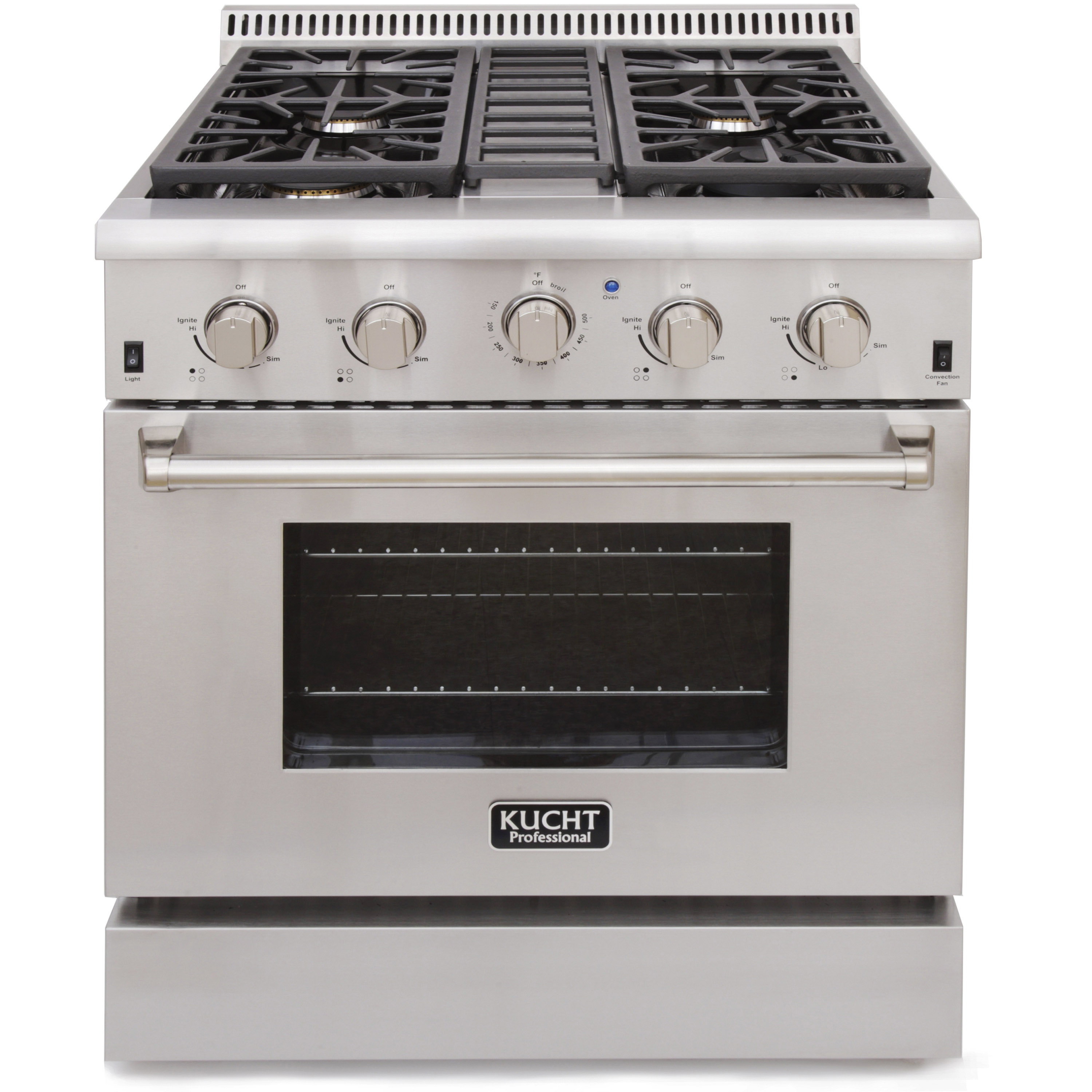 KUCHT Professional 30 in. 4.2 cu. ft. Natural Gas Range with Sealed Burners and Convection Oven in Stainless... by KUCHT