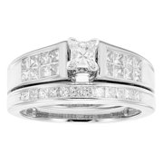 Sofia  14K White Gold 1ct TDW Princess Cut Bridal Set