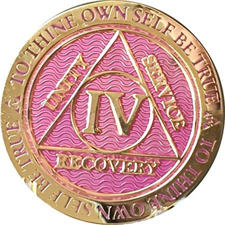 4 Year AA Medallion Reflex Lavender Pink Gold Plated Sobriety Chip
