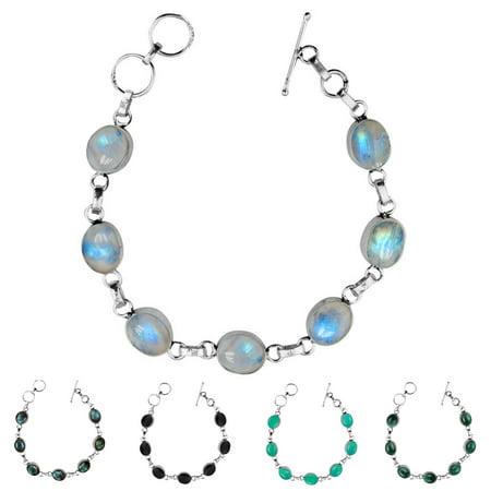 Oval Onyx, Labradorite, Malachite, Moonstore or Turquoise Gemstone Link Bracelet 925 Silver Plated Vintage Bohemian Style Jewelry Malachite Strand Bracelet