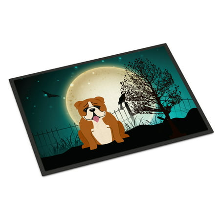 Halloween Scary English Bulldog Red White Door - Scary Halloween Door Decorating Contest Ideas