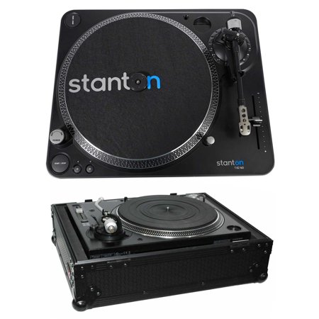 Scratch Dj Turntable (Stanton T.62 M2 Direct-Drive Straight-arm DJ Turntable+Hard Case - Black )