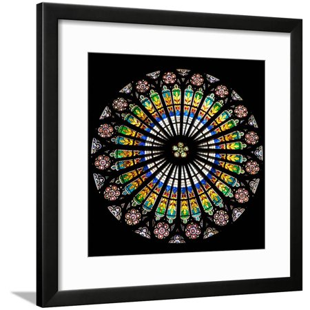 France, Alsace, Strasbourg, Strasbourg Cathedral, Stained Glass Window, Rose Window Framed Print Wall Art By Samuel -