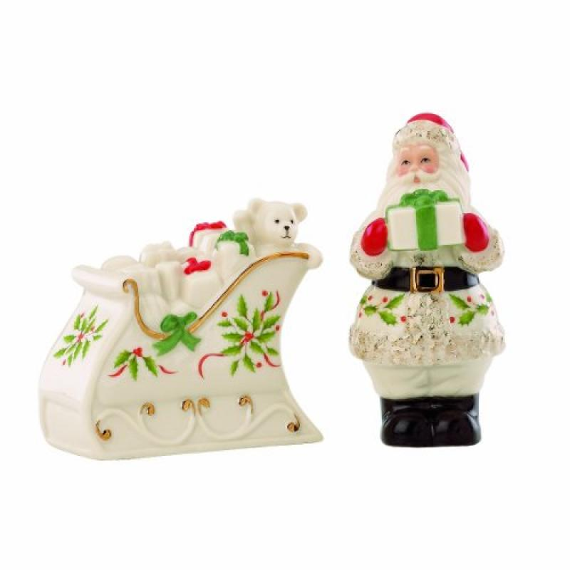 Lenox Holiday Santa & Sleigh Salt & Pepper Set