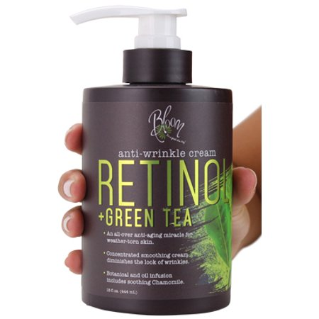 Bloom Retinol + Green Tea Cream Anti-Wrinkle For Fine Lines, Wrinkles, Sun Damaged Skin, Age Spots, Crows Feet. Large 15oz