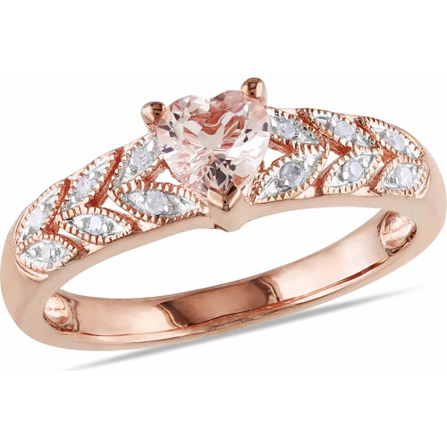 1/2 Carat T.G.W. Morganite and Diamond-Accent Pink Rhodium-Plated Sterling Silver Heart Ring