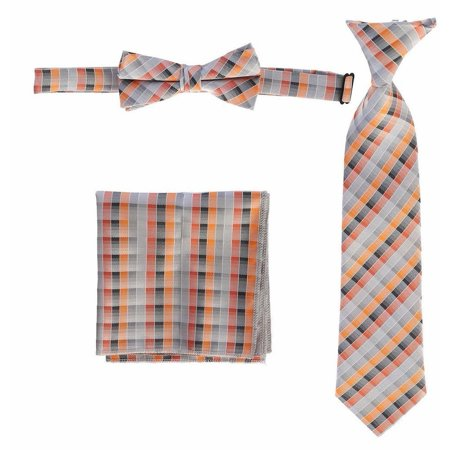 Boys Orange Plaid Striped Tie Bow Tie Pocket Square 3 Pc Accessory