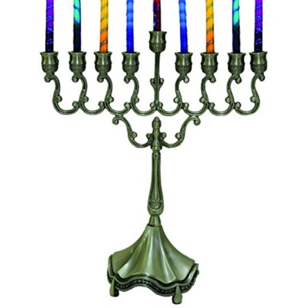 Pewter Giftware - Majestic Giftware MN-HA19379P Hanukkah Menorah, 8-Inch, Pewter