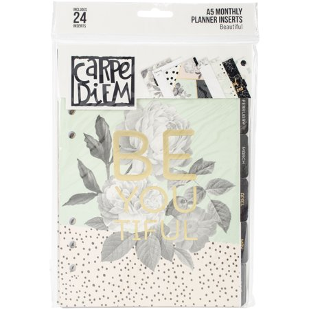 Carpe Diem Beautiful Double-Sided A5 Planner Inserts Beautiful, 12 Dividers/12 Calendar Pages