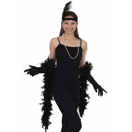 5pc Flapper Set Black Feather Headband Boa Gloves Cigarette Holder & Necklace](Flapper Headbands)