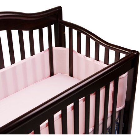 BreathableBaby - Breathable Safer Bumper for Slatted Cribs, Pink