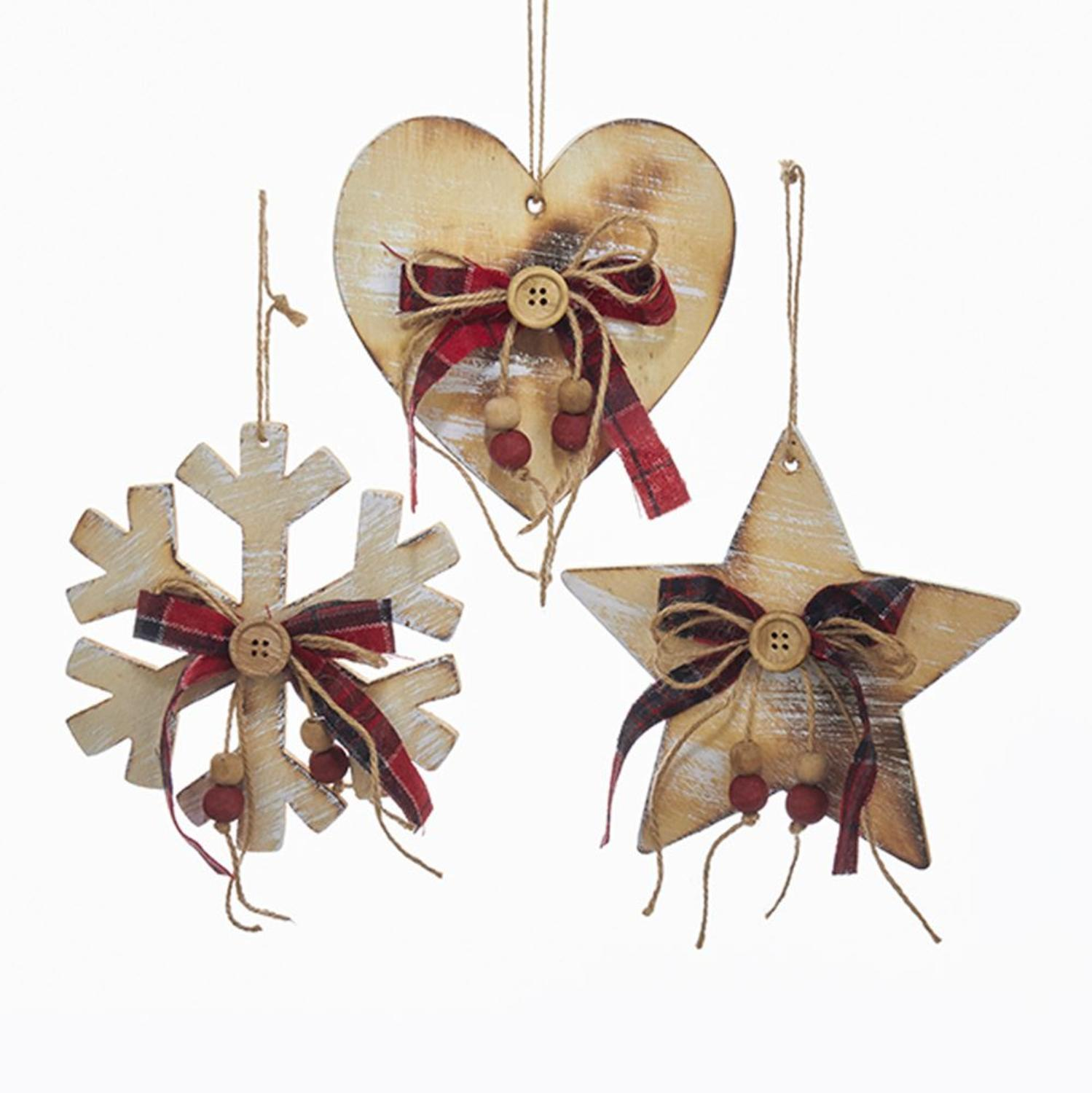 Club Pack of 24 Wooden Brown Heart, Star and Snowflake Shaped Hanging Ornaments 5.9""