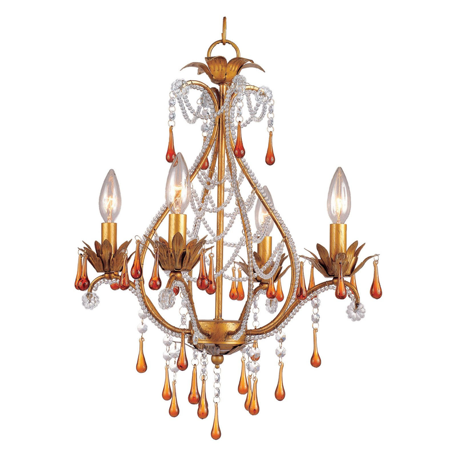 AF Lighting Josephine 4-Light Mini Chandelier with Amber Drop Beads, French Gold