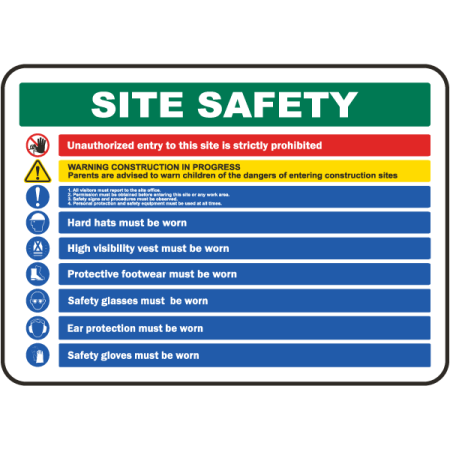 Traffic Signs - Site Safety Rules & PPE Required Sign 1 10 x 7 Aluminum Sign Street Weather Approved Sign 0.04 Thickness