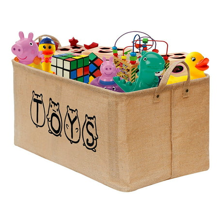 "Gimars 20"" Toy Storage Bins Organizer Jute Toy Box Chest Basket with Durable Handles for Kids, Toddlers, Baby,Girls, Boys, Children Storage in Home, Playroom, Bedroom, Nursery"
