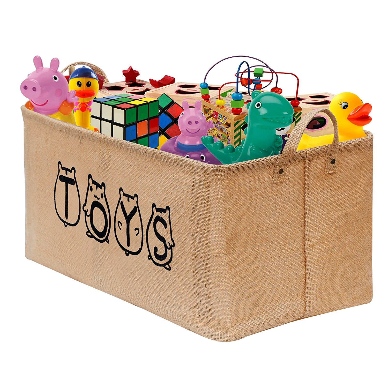 Gimars Storage Basket Collapsible Jute Toy Bin Bag Box Organizer with Handle - Sturdy Lightweight, Ecofirendly - for Baby Kids Nursey Pet Toys, Baby Clothing,Children Books,Gift Baskets, XL 20""