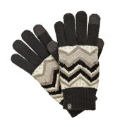 Isotoner Smart Touch Womens Black & Gray Knit Zig Zag Tech Gloves Smartouch Texting