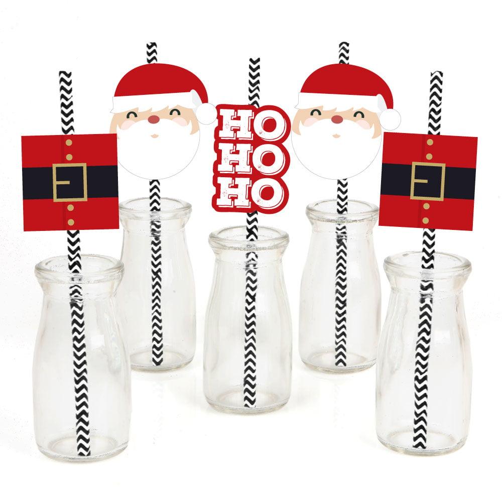 Jolly Santa Claus - Paper Straw Decor - Christmas Party Striped Decorative Straws - Set of 24