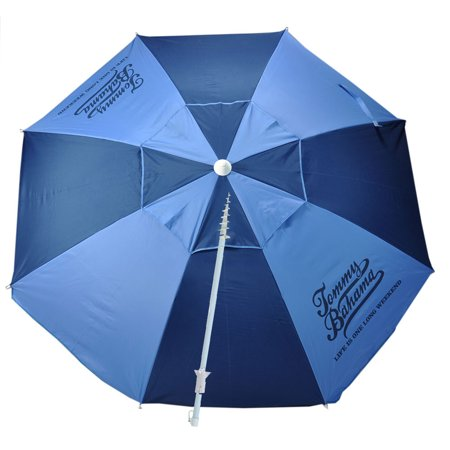 7 ft Fiberglass Tommy Bahama Beach Umbrella with Integrated Anchor and Telescopic Pole, UPF 50+ and