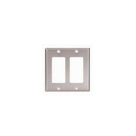 Cooper 93402 Stainless Steel Two Gang Decorator Wall Plate