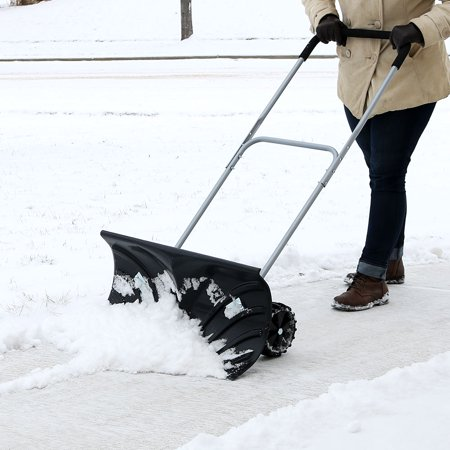 8 Inch Pusher - CASL Brands Heavy-Duty Rolling Snow Shovel Pusher with 6-Inch Wheels and Adjustable Handle, 26-Inch Blade
