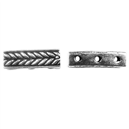Bar 3 Strand - CSF-464 Silver Overlay Multi Strand Grain Design Spacer Bar With 3 Hole