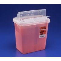 Sharps Container, SharpSafety 12-3/4 H X 7-1/4 D X 10-1/2 W Inch 2 Gallon Red Horizontal Entry Lid, 89651 - EACH