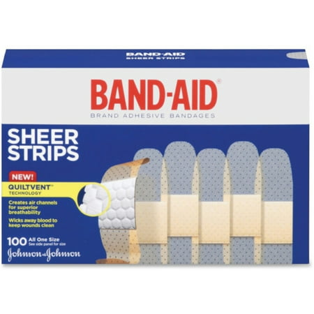Strip Badges - BAND-AID Bandages Sheer Strips 3/4 Inch 100 Each