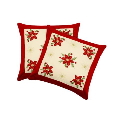Poinsettia Embroidered 2-Piece 18x18 Pillow Cover - 18 Poinsettia