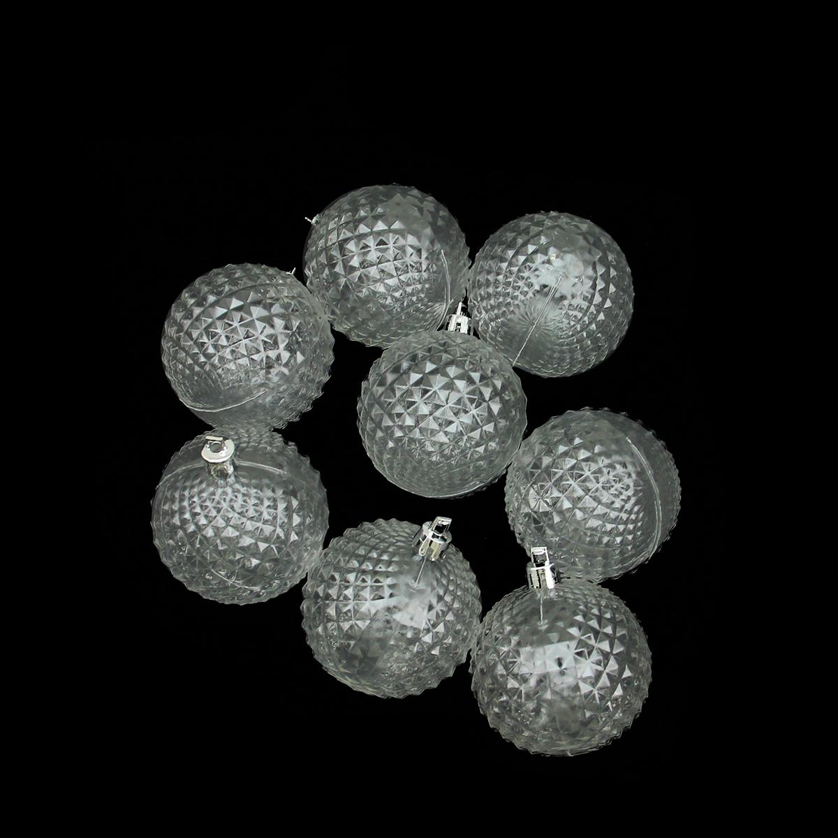 "8ct Clear Transparent Diamond Cut Shatterproof Christmas Ball Ornaments 2.5"""