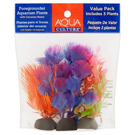 (2 Pack) Aqua Culture Foregrounder Aquarium Plants, 3-Count