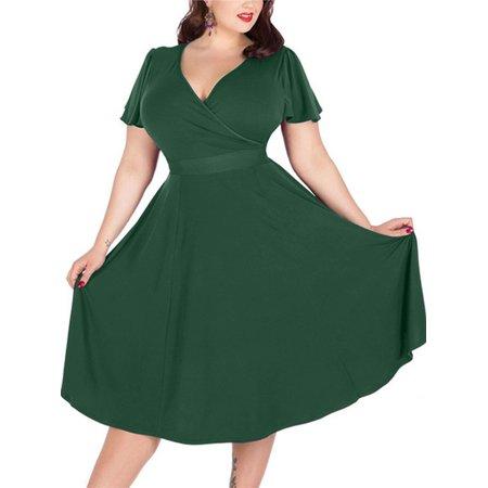 Women Big Size Fashion Plus Size Dresses Sexy Ladies V-neck Oversize Bandage Bodycon Casual Wear Size 16 18 20 - Ladies Halloween Fancy Dress Size 16