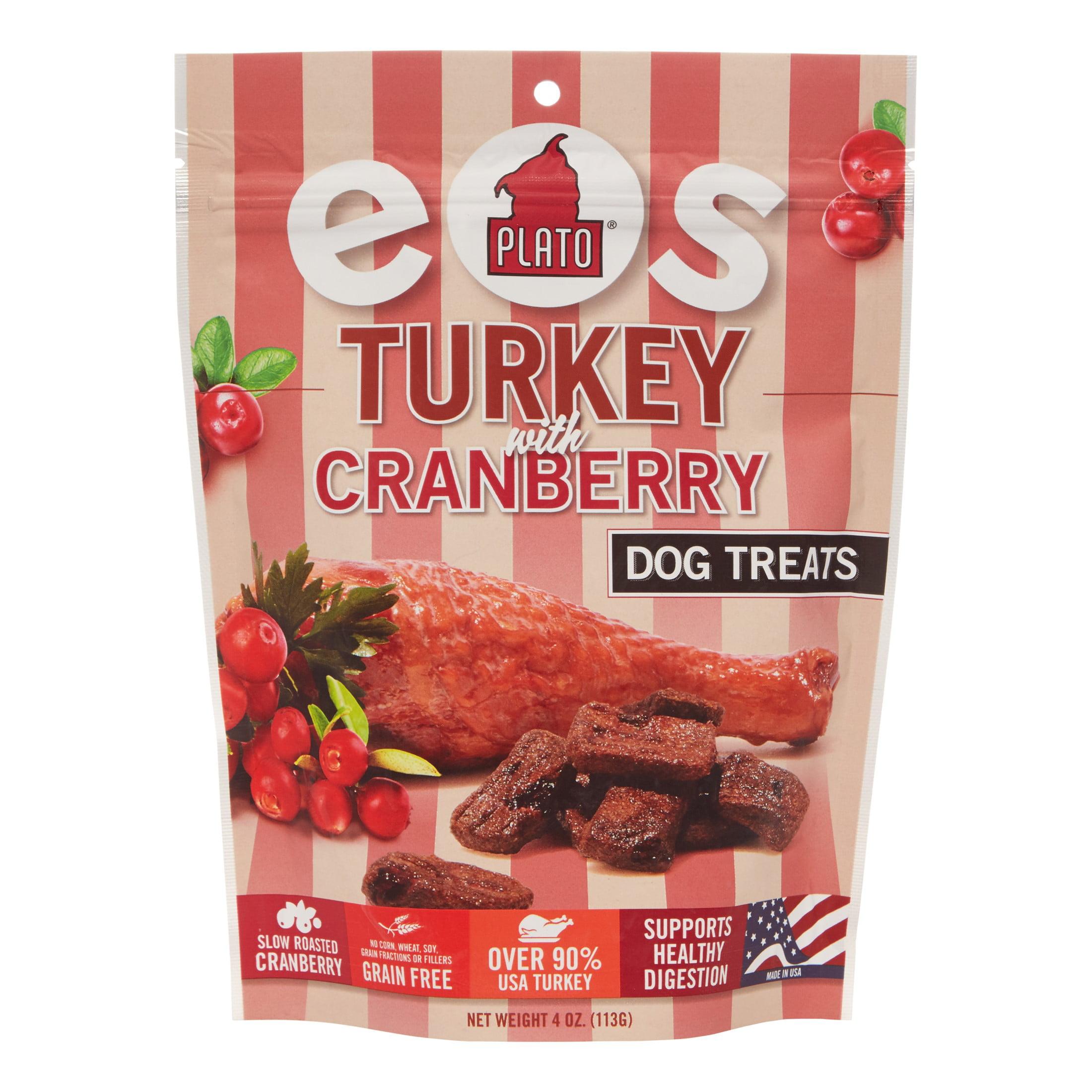 Plato Pet Treats EOS Turkey With Cranberry Dog Treats, 4 Oz by KDR Pet Treats, LLC