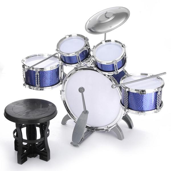 Toy Drum Set for Children 11 Piece Kid's Musical Instrument Drum Playset w  6 Drums,... by