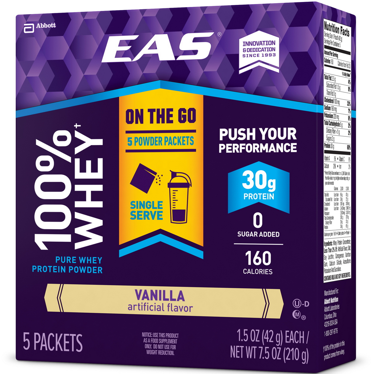 EAS 100% Pure Whey Protein Shake Powder Packets, 30 grams of protein, Vanilla, 1.5 oz (