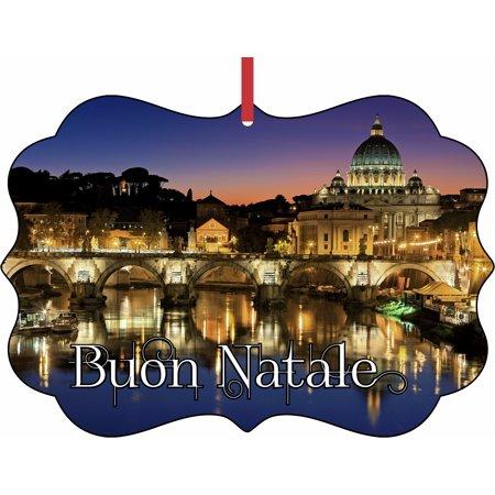 Buon Natale Ornament.Vatican City Rome Italy Buon Natale Elegant Aluminum Semigloss Christmas Ornament Tree Decoration Unique Modern Novelty Tree Decor Favors