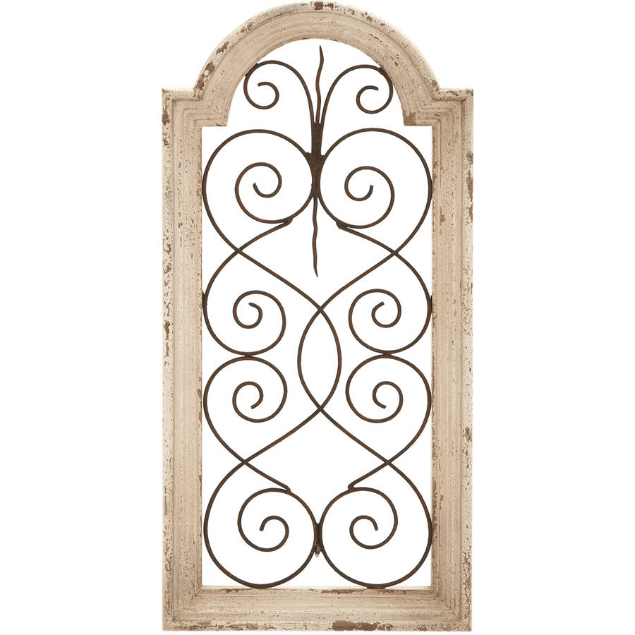Decmode Wood and Metal Wall Panel, Ivory