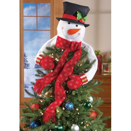 Christmas Hugging Snowman Tree Topper with Red Mittens and Draping Red Scarf - Festive Christmas Tree - Grinch Door Decorations