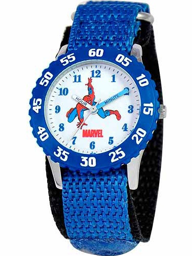 Marvel Spider-Man Boys' Stainless Steel Watch, Blue Strap