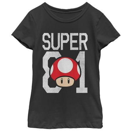 Nintendo Mario Super Mushroom Jersey Girls Graphic T Shirt ()