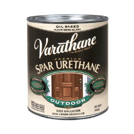 Rust oleum 242184 varathane pint clear satin exterior oil based premium spar urethane wood for Exterior polyurethane wood finish