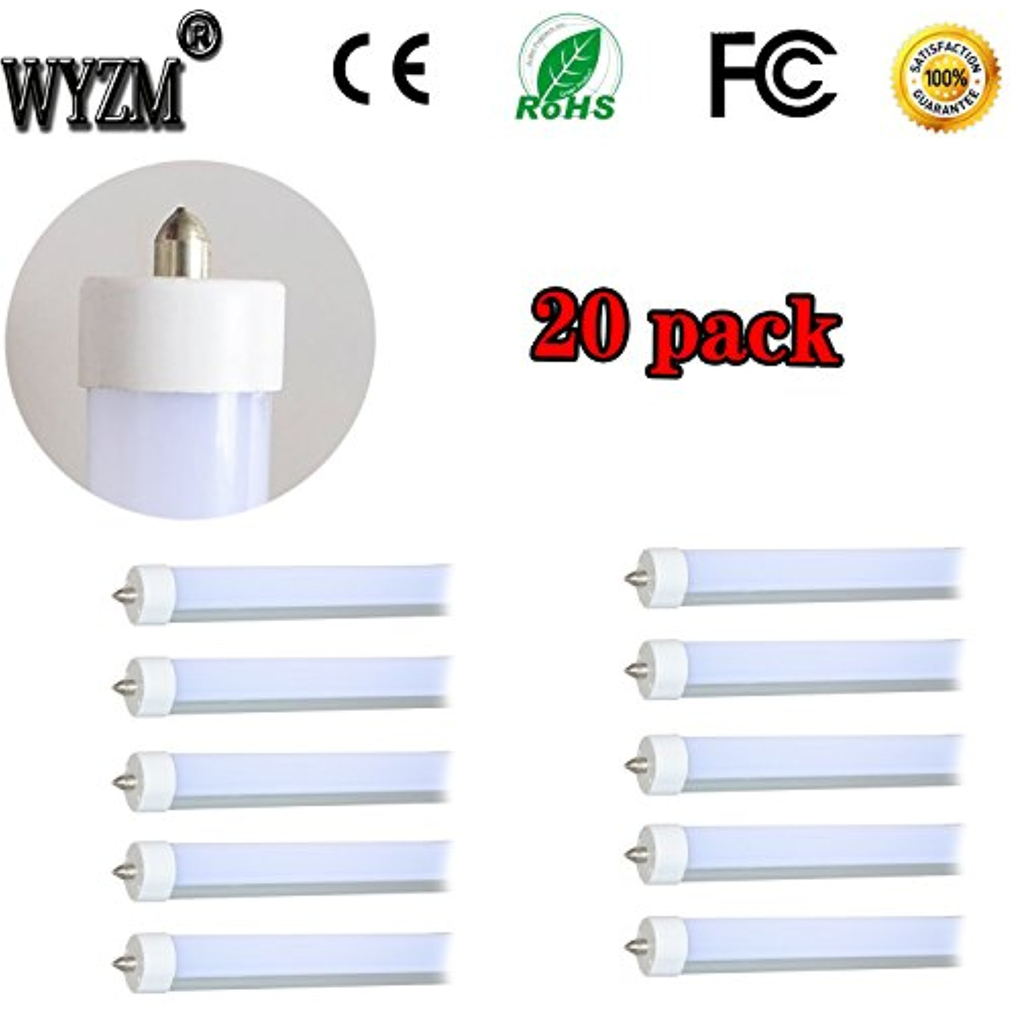 "WYZM 20-Pack 96"" 8ft 40w T12 LED Tube Double-end Power 11..."