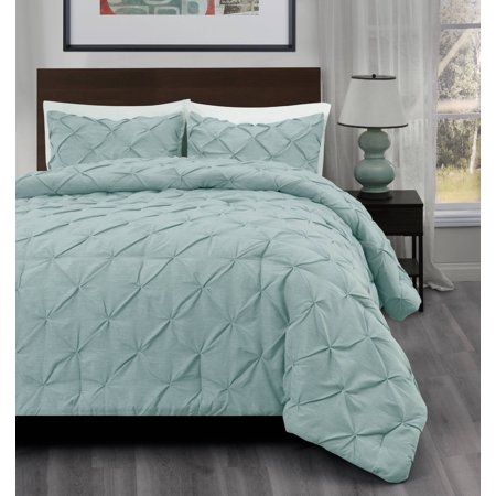 3pc Pinch Pleat Comforter set Aqua Green Color Bed Set | Master Collection BY Cozy Beddings ()