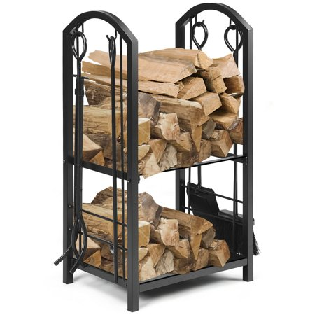 Gymax Fireplace Log Rack with 4 Tools Set Fireside Firewood Holders Indoor Outdoor ()